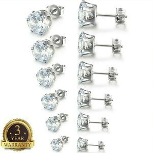 Jewelry - Hypoallergenic Round White Clear Stud Earrings